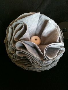 jersey fabric flower with antique button and a hint of lace by Been Buttoned (beenbuttoned.weebly.com)