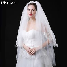 In Stock Short 2 Layer Waist Length Bling Sequins Applique Edge White Ivory Wedding Veil With Comb Bridal Veils