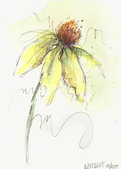 """Original artwork of lovely cone flower with a single leaf rendered in pen, ink and watercolor. It is titled """"Spring Cone Flower"""" and is signed and dated at the bottom with the title on the back. The warm yellow and green colors, with a hint of yellow ochre, makes the flower seems"""