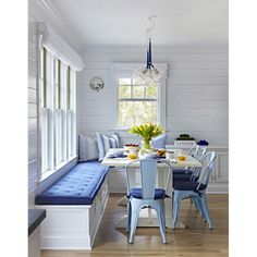 "Beach Cottage with Crisp and Fresh Coastal Interiors - ""Kitchen Nook Banquette"" - Interior Design Fans Dining Nook, Dining Room Design, Dining Room Bench Seating, Beach Dining Room, Nook Table, Dining Room Blue, Dining Sets, Small Dining Tables, Outdoor Dining"