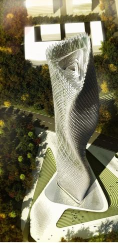 Taiwan Wind Tower by Decode Urbanism Office :: facade composed of wind driven…
