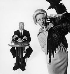 Tippi Hedren and Alfred Hitchcock promoting 'The Birds', 1962.