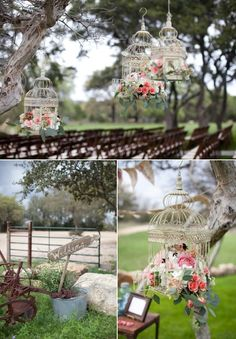 Love the hanging birdcages with flowers! Ready for a Garden Party , Wedding, Event. Birdcage Ideas