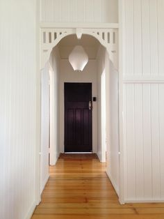LISA: not sure if I am feeling this vibe anymore but I don't hate wood paneling for texture Cottage Hallway, Entry Hallway, Cottage Renovation, Home Renovation, Queenslander House, Australia House, Colorful Interior Design, Hallway Designs, House Goals