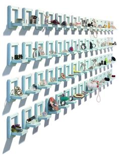 Neat idea for a craft fair booth wall to display jewelry or small handmade items. Or you could make the boxes and shelves bigger for larger items.
