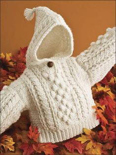 Crochet World magazine Oct 2008 issue in my email folder Infant's Aran Hoodie pattern by Lisa Oberdorf Knitting For Kids, Baby Knitting Patterns, Crochet For Kids, Baby Patterns, Crochet Patterns, Crochet Baby Sweaters, Crochet Baby Clothes, Crochet Crafts, Knit Crochet