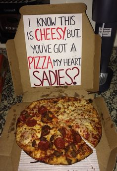 Sadie's Proposal with pizza!!