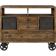 Bring rustic style to your living room or home library with this acacia wood media console, showcasing 3 drawers and metal accents.