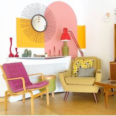 Happy Tuesday all! Thought I'd share bright colours and stunning retro style interior to uplift your day! Here is Jo's home 👉 and… Colour Blocking Interior, Color Blocking, Living Room Decor, Bedroom Decor, Living Room Interior, Cozy Living Rooms, Unique Flooring, Colorful Interiors, Colorful Interior Design