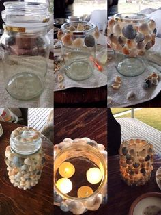 Craft enticing DIY candle holders from easily available materials like pine cones, jars etc. Mason Jar Candles, Diy Candles, Coffee Bean Candle, Fun Crafts, Crafts For Kids, Seashell Candles, Diy Candle Holders, Decorated Jars, Handmade Crafts