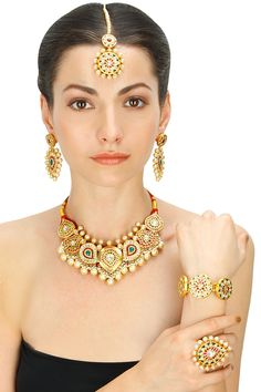 Gold plated crystal, glass and pearl round choker five piece set available only at Pernia's Pop-Up Shop