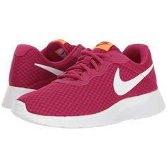 Nike Tanjun (Sport Fuchsia/White/Tart) Women's Running Shoes (230 ILS) ❤ liked on Polyvore featuring shoes, athletic shoes, breathable running shoes, round cap, fuschia shoes, sports running shoes and white sports shoes