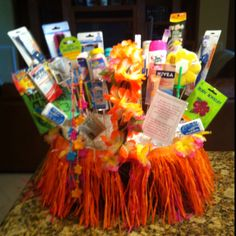 Bathroom basket for Hawaiian themed Bat Mitzvah.