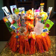 Bathroom basket for Hawaiian themed Bat Mitzvah.