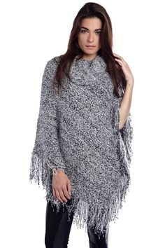 Poncho in roll neck with fringing - 39,90 € - q2.com.es