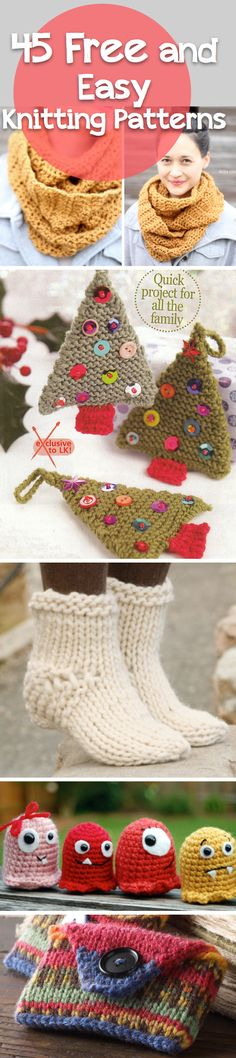 How to Knit: 45 Free and Easy Knitting Patterns. I'd like to try knitting a few things and see if they come out nice enough for gifts!