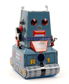 Vintage-inspired wind up tin toy robot
