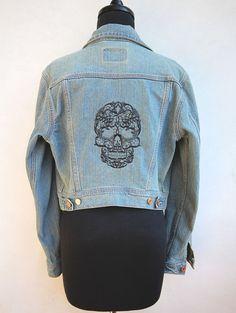 Tête de mort brodé Vintage en dentelle veste en par WTFembroidery