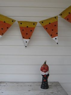 CANDY CORN hand painted Burlap Banner
