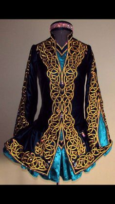 Kirations Irish Dance Solo Dress Costume.  Just black and gold, and maybe double breasted effect.