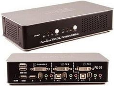 USB DVI Dual Link KVM Switch, 2port with simple plugs and push buttons.