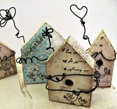 Together   Primitive Folk Art Style Miniature Bird by hartstringz, $12.00 . . . have just the little birdhouses to alter for these!  love 'em! . . .