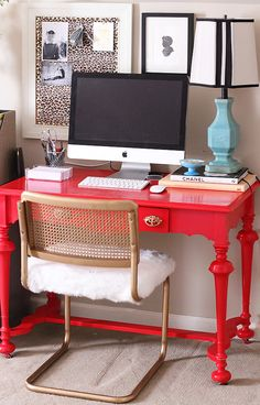 Office Space // Home Tour //DIY Red Lacquer Desk www.charmingincharlotte.blogspot.com
