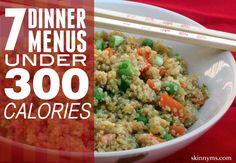 7 Dinner Menus Under 300 Calories #lowcalorierecipes