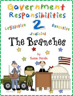 $8.50 Complete unit to teach the Branches of Government.  It has 5 days of lesson plans, charts for smart board viewing integrated into the lessons, assessments, thinking maps, and even a large game board with 20 game cards, and more.  This is all you will need.