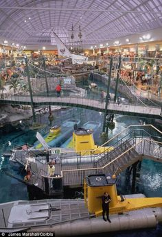 Underwater, submarine rides is a feature of the amusement park inside the West Edmonton Mall