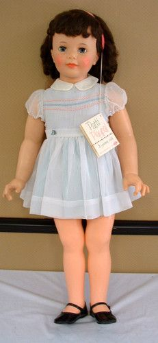 Loved my 3 foot high-3 year old Patti Playpal doll-too bad, I chopped the heck out of her hair.  1960s ORIGINAL IDEAL BRUNETTE PATTY PLAYPAL w TAG BEAUTIFUL