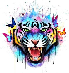 Choose your size ☄- Visit our art's shop here -☄ art art unbelievable art drawings art painting art perspective art photography art wallpaper art fantasy art creative Watercolor Tiger, Tiger Painting, Tattoo Watercolor, Painting Art, Cute Drawings, Animal Drawings, Art Tigre, Art Du Croquis, Tiger Art