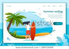Vector illustration - surfing girl on a beach. Palm, sand, ocean on background. Banner, site, poster template with place for your text.