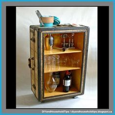 Decoupage Suitcase, Old Trunks, Rolling Bar, Love You Dad, The 5th Of November, Dollar Stores, Diy Furniture, Liquor Cabinet, Cute