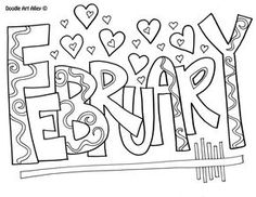 Months of the Year Coloring Page February Kiddie Art