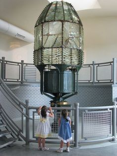 The 16-foot original first order Fresnel lens is on display in its own building alongside the Fire Island Lighthouse.