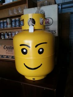 Painted Lego head propane tank