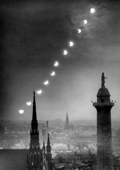 Eclipse over Mt. Vernon Place,  9 July 1945 •  A. Aubrey Bodine