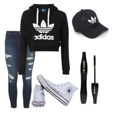 """Untitled #23"" by katrinawells on Polyvore featuring J Brand, Topshop, Converse, adidas and Lancôme"