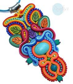 Paratiisi Sutasz Soutache Pendant, Crochet Earrings, Folk, Pendants, Big, Rio De Janeiro, Pendant, Folk Music, Charms