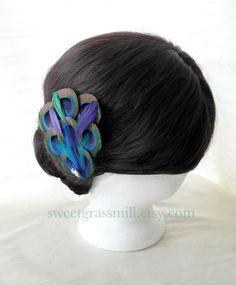 Peacock Fascinator - BON VIVANT - Peacock Teal Purple Feathers Pearls - Choose Headband or Clip. $25.00, via Etsy.