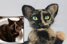 Tortoiseshell cat - Little Copy of Your Pet. Dry felting. Нand made. Needle felt art. Made by dry felting.  Animal. Suitable for decorating the shelves in the room ········...
