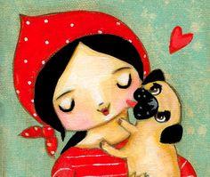ORIGINAL PUG KISSES cute fawn pug dog and babuska by tascha