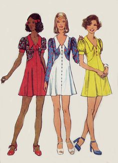 Vintage 70s Mini Dress Pattern - Simplicity 5499 - Shaped Bodice - V Neckline - Size 14. $6.95, via Etsy.