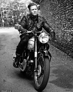 Belstaff.  This pic is so Laurence of Arabia   Easy rider: The Trainspotting actor looked superb in the leather jackets with his designer stubble and cool hair style