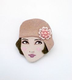 Victorian Style Felt Brooch, Fabric Brooch, Art Brooch, Wearable Art Jewelry | Charleston girl fabric brooch Felt Brooch retro brooch by yalipaz, $15 ...