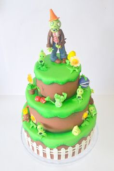 Tartas Artisticas.: TARTA FONDANT PLANTAS VS ZOMBIES Isomalt, Phineas Y Ferb, Mickey Y Minnie, Zombie Party, Halloween 1, Birthday Cake, Minecraft, Desserts, Food