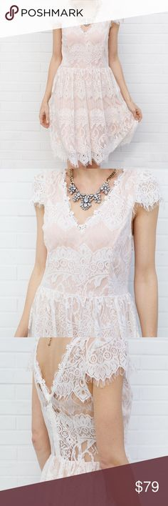 Cap Sleeve Lace Detail Dress - Ivory This lovely feminine dress features delicate ivory lace and beautiful dainty cap sleeves. It's an easy true to size fit and is perfect for day or night night events.  Small: Bust 32, Waist 26, Length 35 Medium: Bust 34, Waist 28, Length 35  Large: Bust 36, Waist 30, Length 37   Polyester 100% Dry clean only Dresses Midi