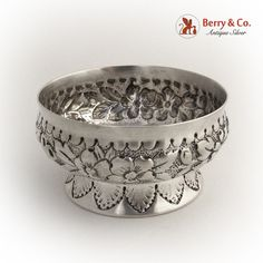 Tiffany Open Salt Dish Repousse  Sterling Silver