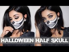 Hi Beauties! How are you guys doinggg? Are you ready for HALLOWEEEEEN? Don't know what to do with your outfit/makeup? Halloween Makeup Youtube, Halloween Face Makeup, Halloween Looks, Halloween Skull, Half Skull, Brow Tutorial, Makeup Tutorials Youtube, Gorgeous Makeup, Playing Dress Up